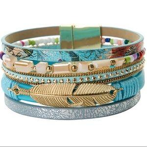 Jewelry - BOGO SALE Blue Boho Leather Wrap Bracelet